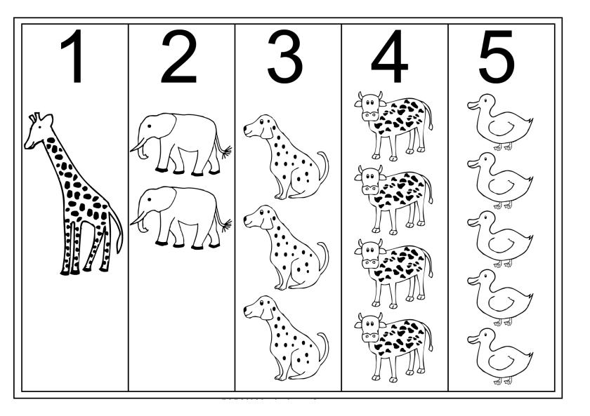 Tabela brojeva 1 do 5 za svesku